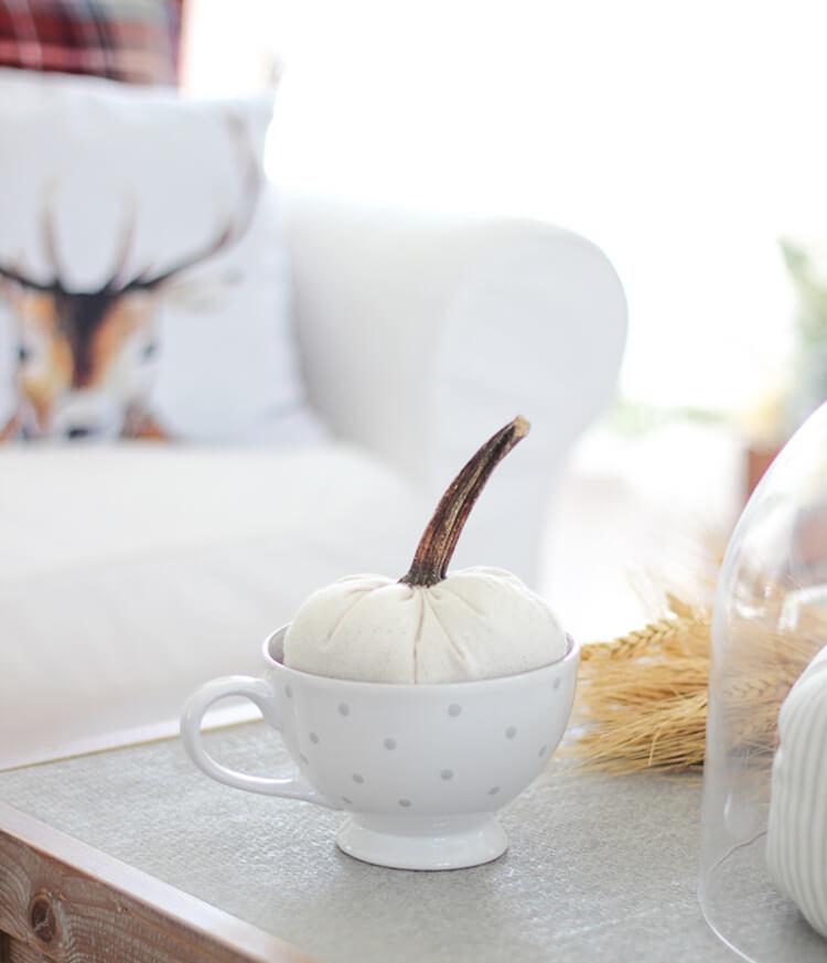 10 Ideas para decorar tu casa en otoño. Decorar con una taza y una calabaza
