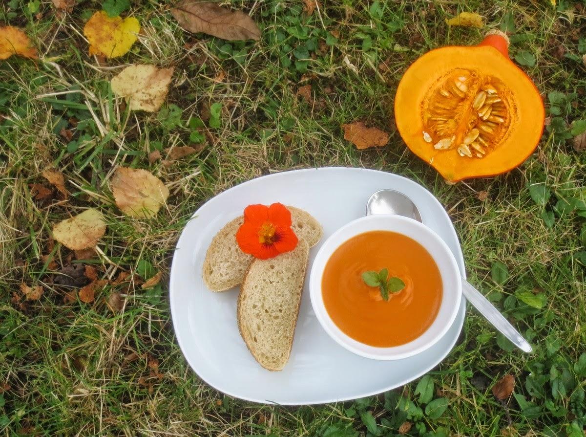 Rezept Kürbis-Paprika-Suppe, Kürbis-Suppe mit Paprika, Curry und Tomatenmark