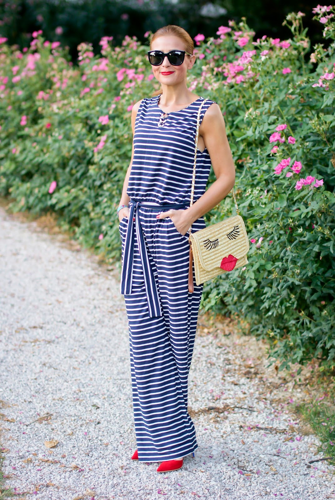 Striped overall outfit with Smash! on Fashion and Cookies fashion blog, fashion blogger life