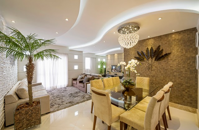 Sala De Estar Na Cor Bege ~ Luxo de ambientes integrados! Sala de estar com dois sofás de