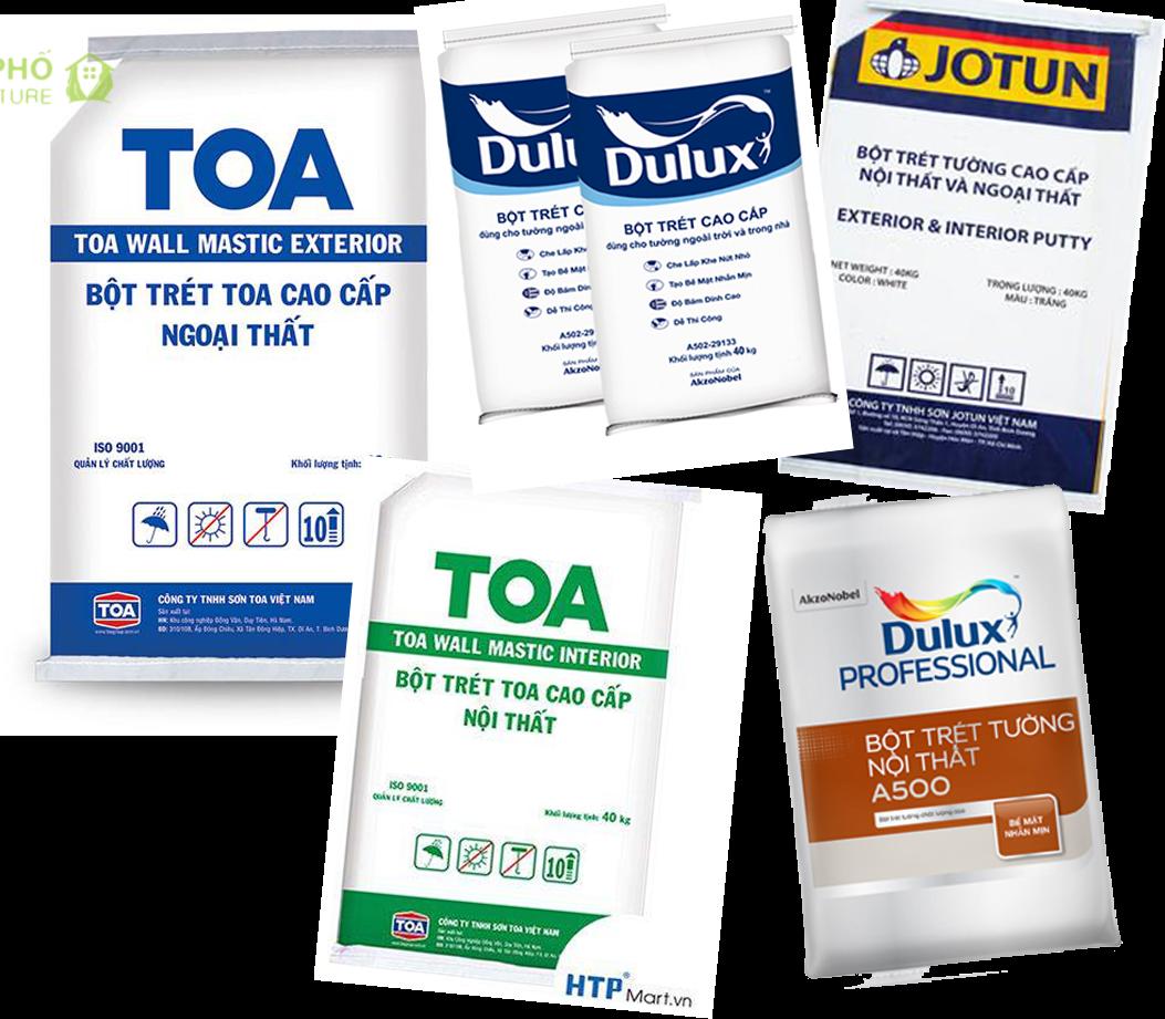 Nhiều loại bột trét với các thương hiệu khác nhau