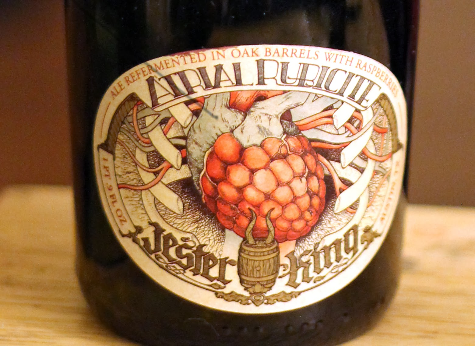 One of the most beautiful labels on any bottle of craft beer, Jester King's Atrial Rubicite!
