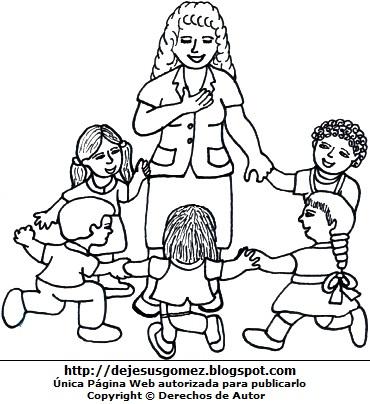 Dibujo de una maestra o profesora con sus alumnos pequeños para colorear o pintar. Dibujo de maestra de Jesus Gómez