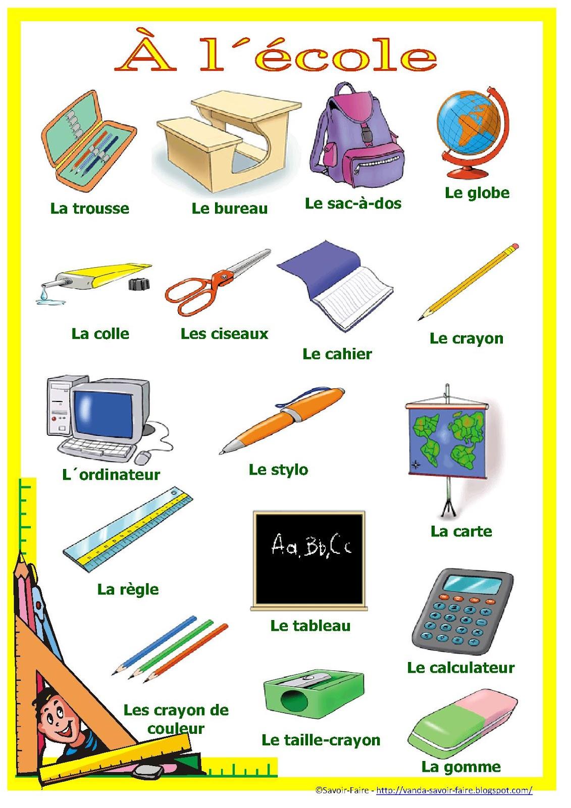 Francais Pour Mes Eleves Materiel Scolaire