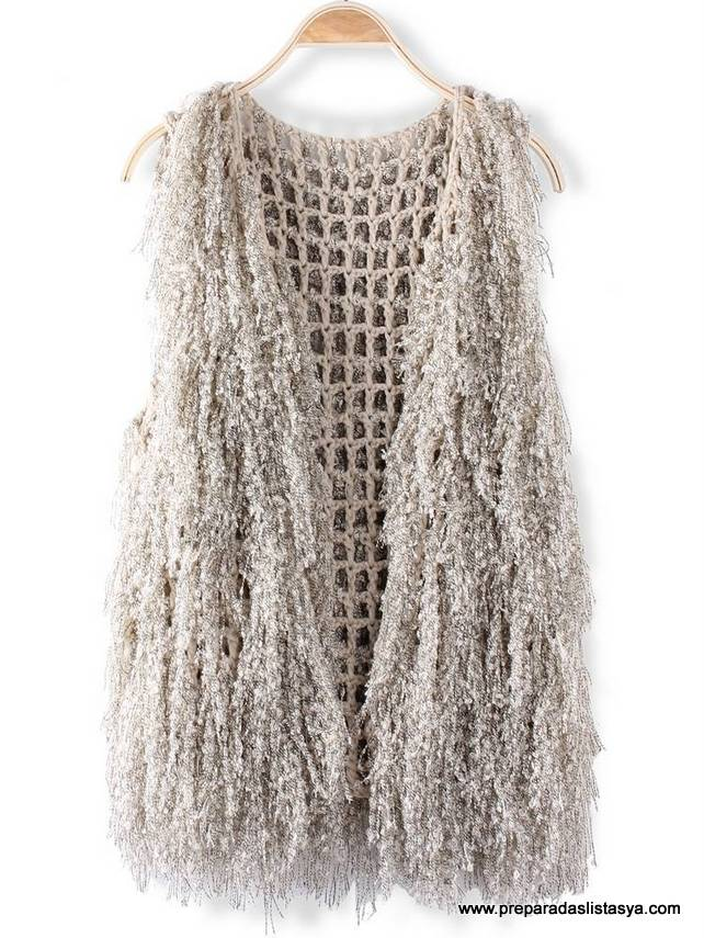 Chaleco lana blanco Newchic