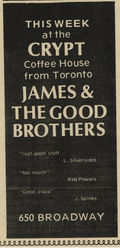 0d836667b32b Advertisement for James & The Good Brothers The Sheaf, 15 September 1970  courtesy University of Saskatchewan Archives