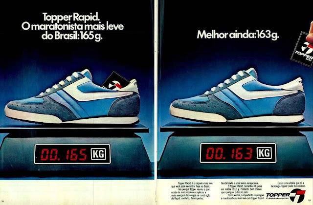 Propaganda do Tênis Topper Rapid, que proporcionava melhor desempenho aos atletas.