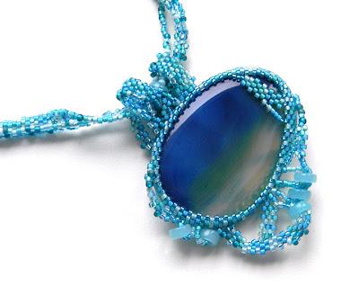 купить украшение с агатом, фриформ бисер, голубое бирюзовое колье