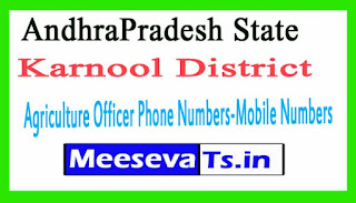 Karnool District Agriculture Officer Phone Numbers-Mobile Numbers AndhraPradesh State
