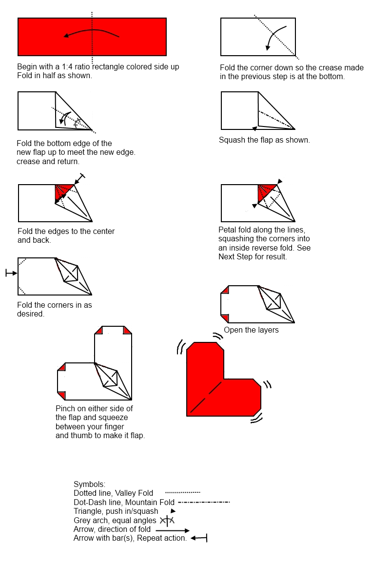 Steps To Make Origami Heart With Wings