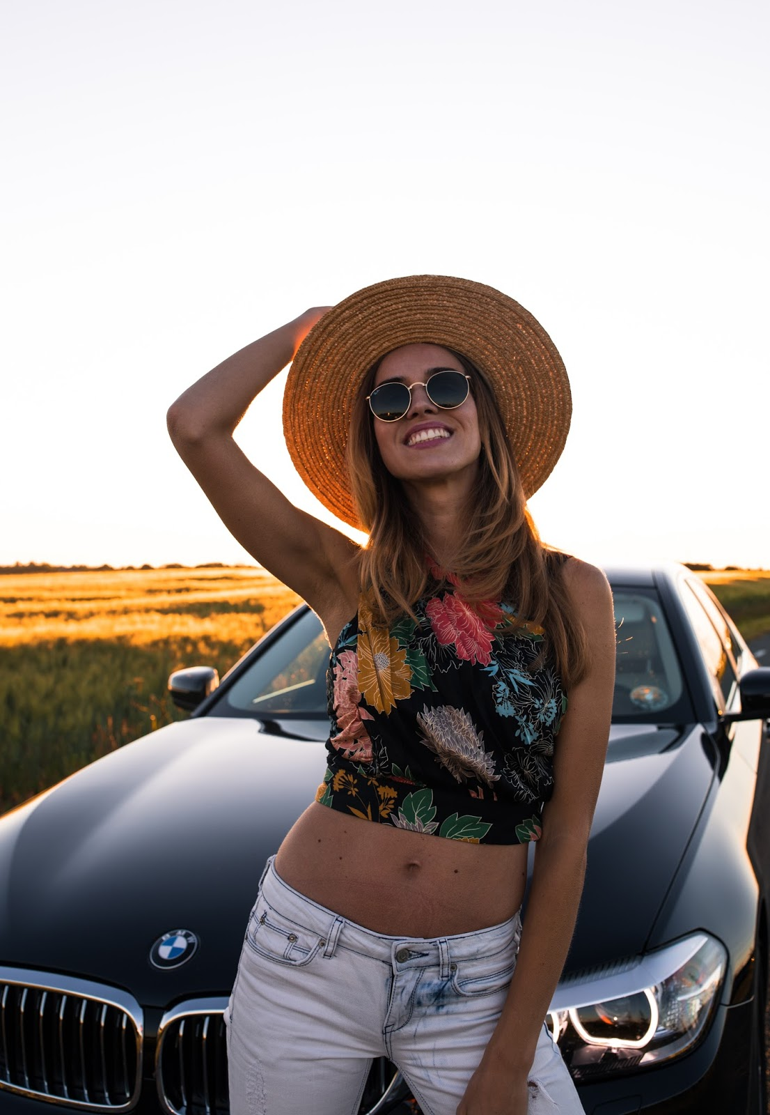summer girl bmw car sunset roadtrip