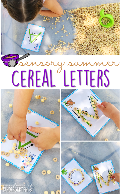 Practice fine motor skills and letter recognition with this cereal filled sensory bin! This is a perfect activity for summer tot school, preschool, or kindergarten!