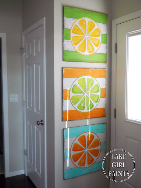 Lake Girl Paints Diy Wall Art - Citrus Stripes