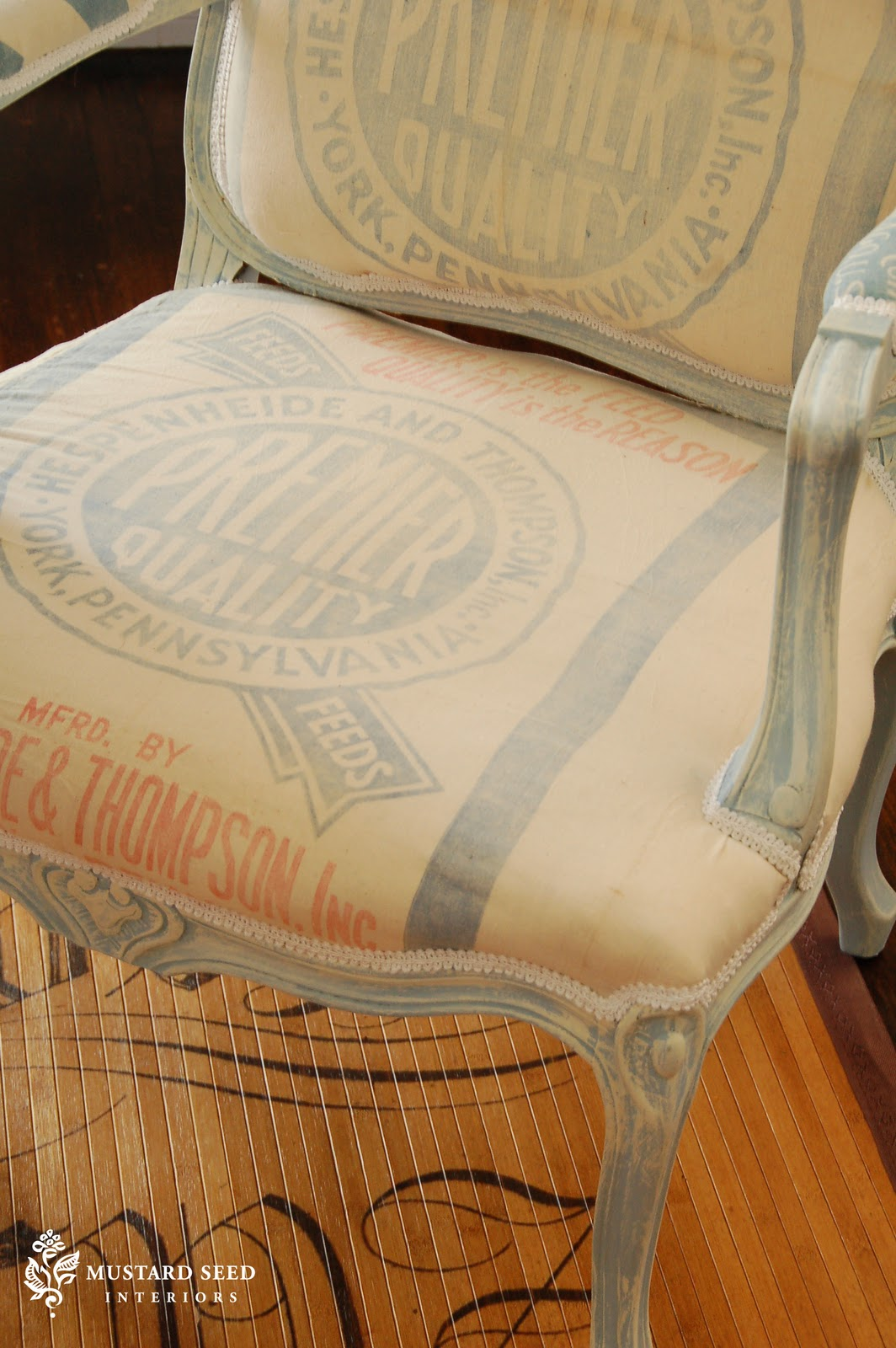 French Feed Sack Chair Miss Mustard Seed