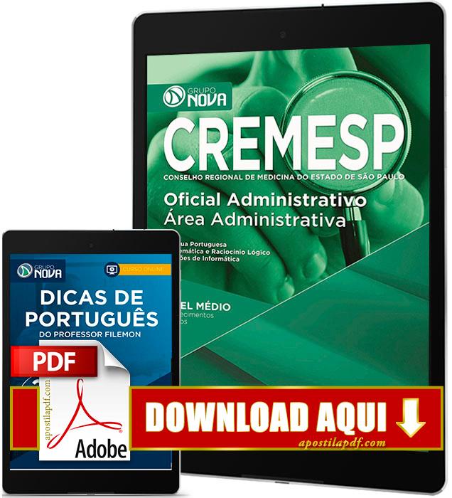 Apostila CREMESP 2016 PDF Download Oficial Administrativo