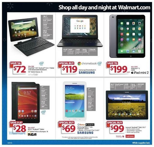 Black Friday Walmart Deals Apple ipad Mini 2, Samsung Chromebook 3, Lenovo Tab 3, Smartab Android Tablet
