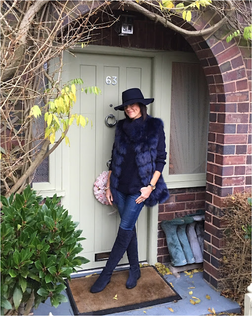My Midlife Fashion, faux fur gilet, zara felt hat, great plains boucle roll neck, zara skinny jeans, clarks caddy belle over the knee boots