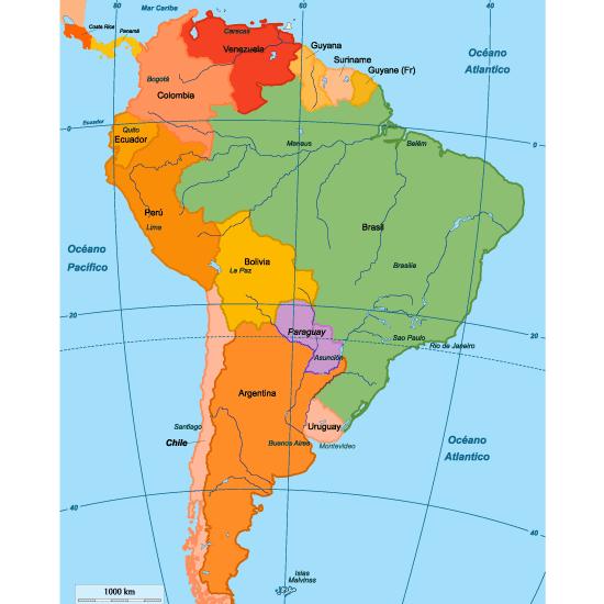 Mapa político de Sudamérica editable - Vector