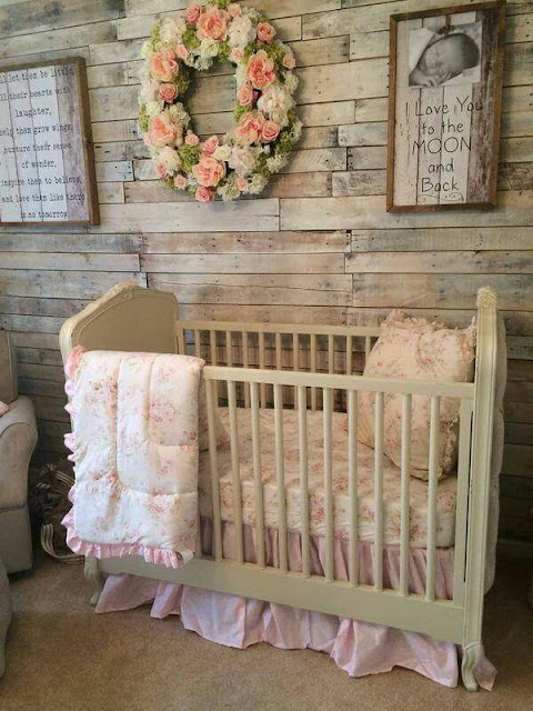 rustic baby nursery ideas for girls with wooden bed set pallet wall decor