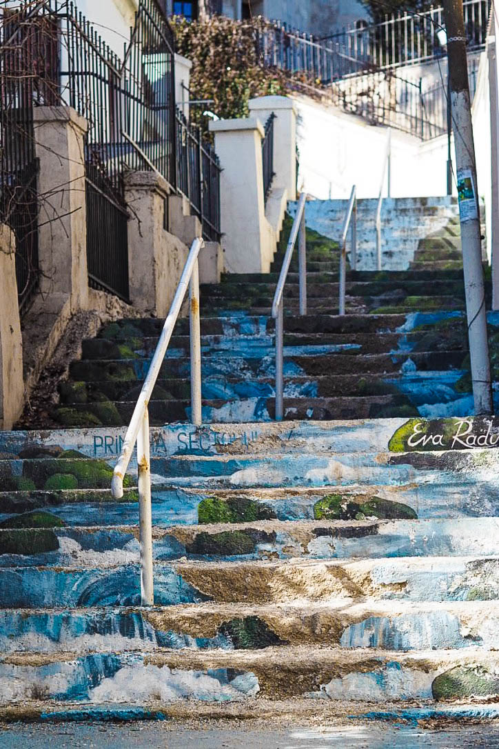 Painted waterfall steps in Bucharest