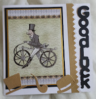 "Vintage gentleman on bicycle 7"" square card - Good Luck"