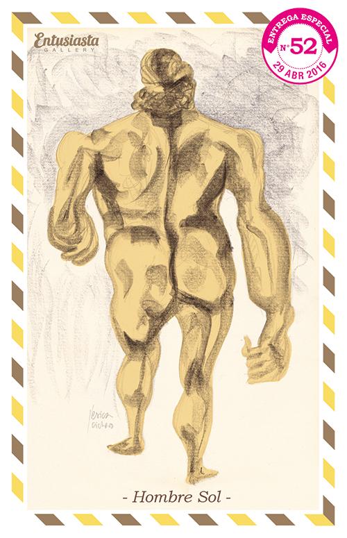 Un Homme-soleil de dos, tout nu.