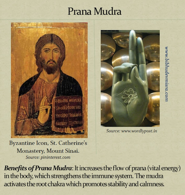 Byzantine Icon of Jesus with his hand in the Prana Mudra