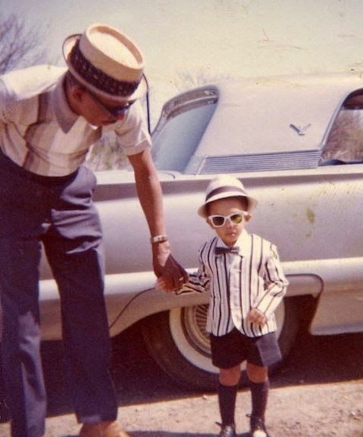 Vintage photo. Very fashionable dad and son c.1950s in fashionable. Little Scraps of Wisdom. marchmatron.com