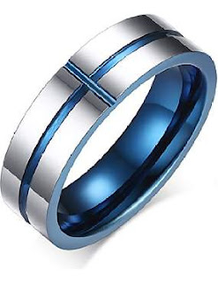ColorGift Men's Blue Tungsten Band Wedding Comfort Fit Ring 6mm