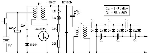 9V to 13.5kV Inverter Circuit
