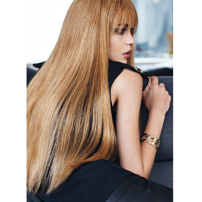 very long blonde hairstyle with choppy bangs
