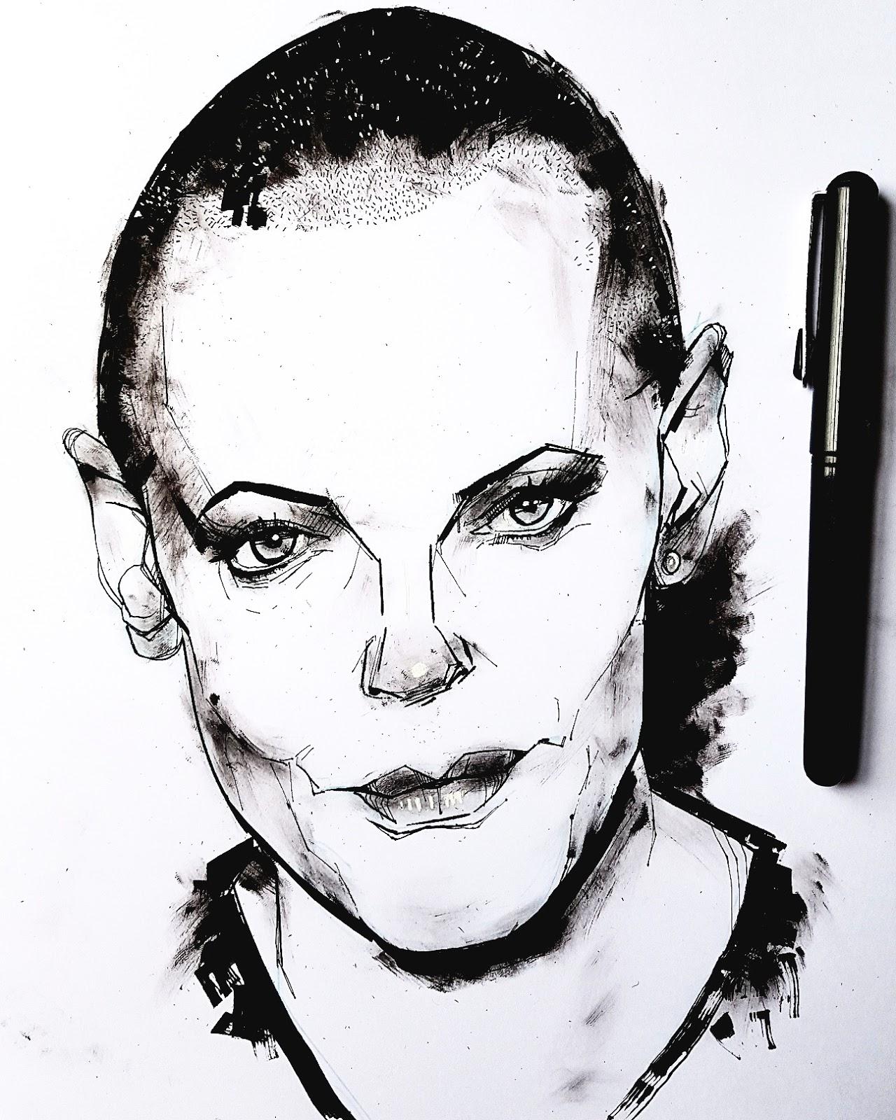 Rose McGowan drawing