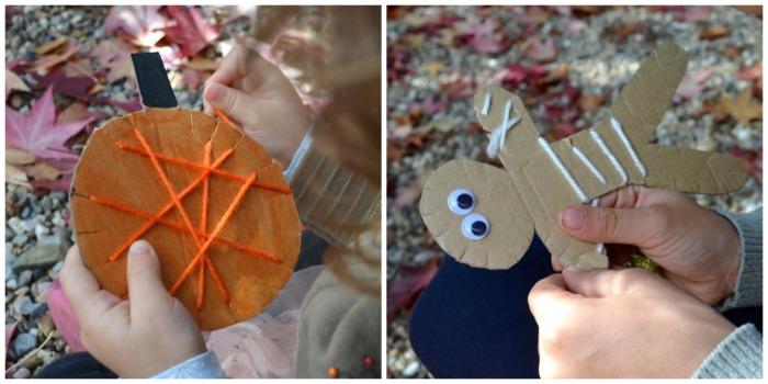 actividades, manualidades niños motricidad fina otoño, hilar figuras carton halloween