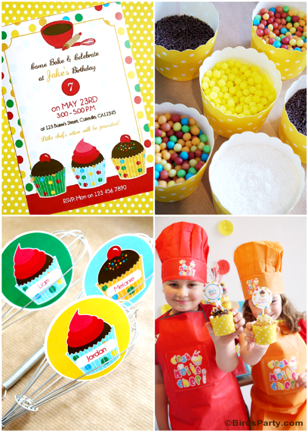 Baking Birthday Party Ideas and Printables  - BirdsParty.com