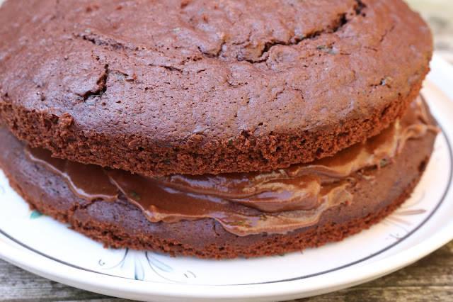 Chocolate and garden mint cake
