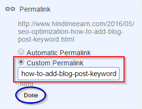 Custom Permalink Add Kare