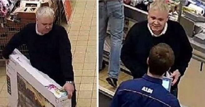 Πήρε μια τηλεόραση από το ράφι, πήγε στο ταμείο και πήρε πίσω τα λεφτά του, που φυσικά δεν είχε πληρώσει ποτέ! (photos)