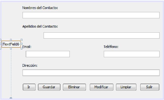 Agregando un JTextField al formulario java