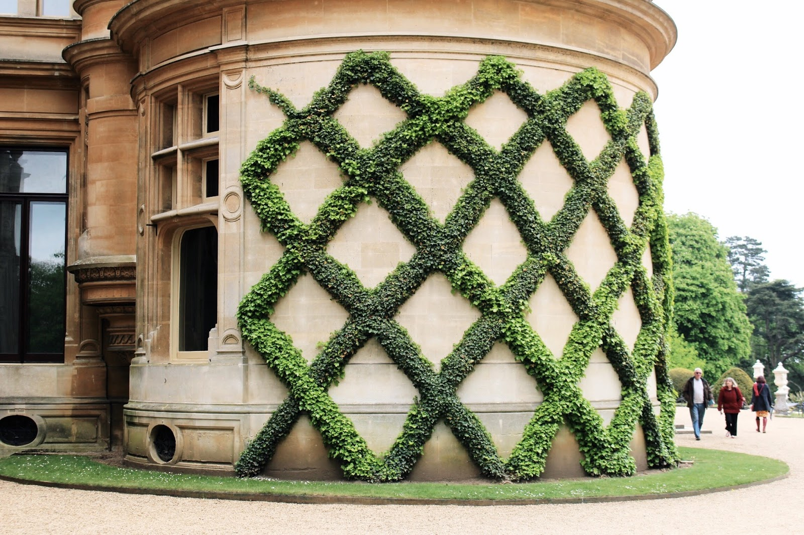 Lattice Greenery Climbing Up Manor Building