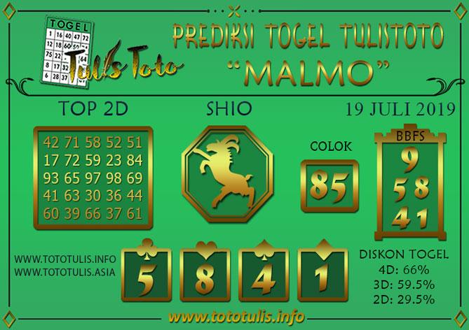 Prediksi Togel MALMO TULISTOTO 19 JULI 2019