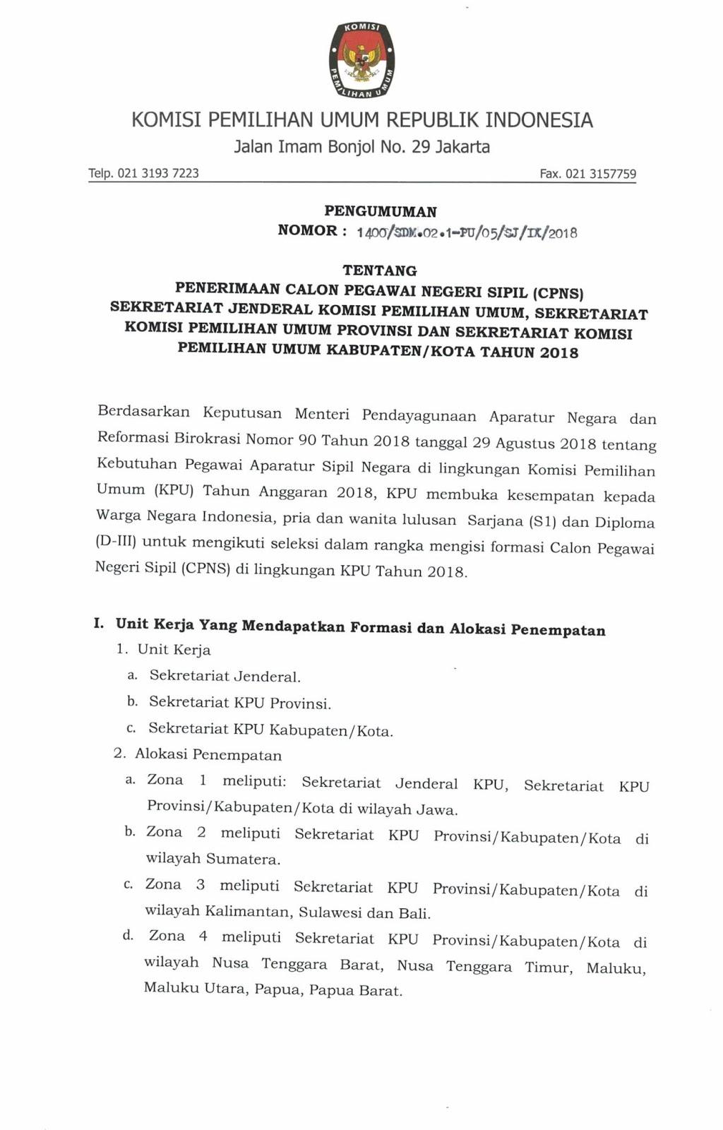 Lowongan Kerja   CPNS Komisi Pemilihan Umum [700 Formasi]  Oktober 2018