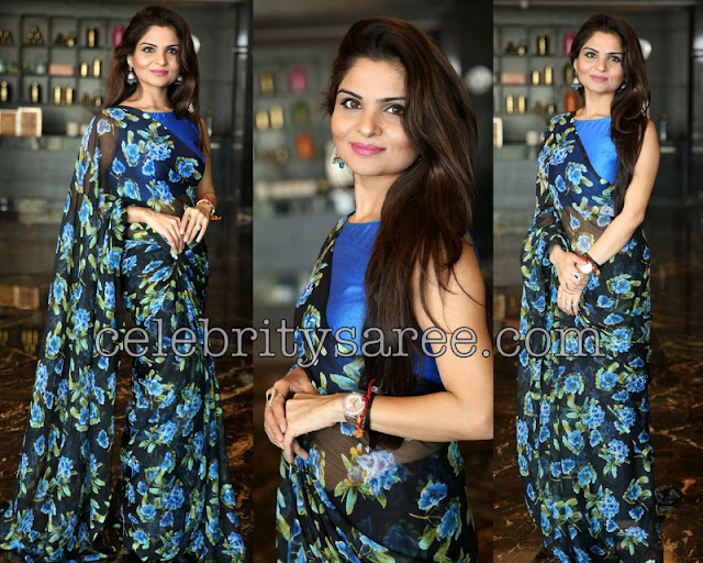 Floral Saree in Black and Blue