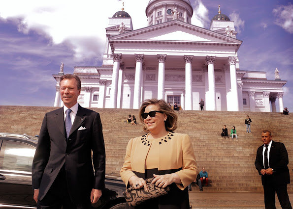 Grand Duke Henri and Grand Duchess Maria Teresa of Luxembourg are on a state visit to Finland. Style, Dress, jewelery, Maria Terasa wore fashion dress