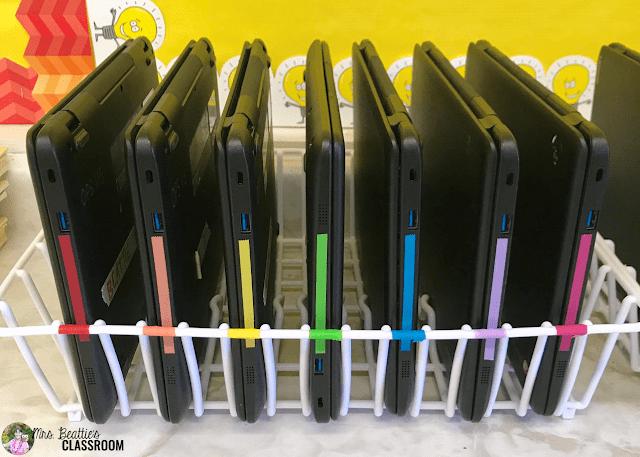 Photo of classroom Chromebook storage.
