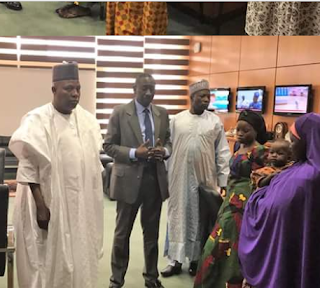 Photos: Governor Shettima hands over rescued Chibok girl, Salomi Pogu, others to National Security Adviser, Babagana Monguno