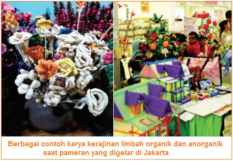 beberapa produk kerajinan limbah organik dan anorganik