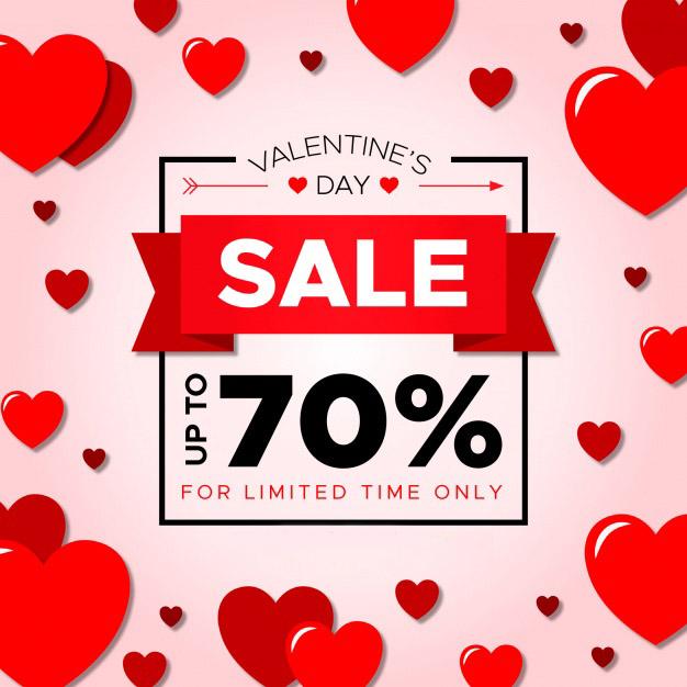 Creative valentine sale background Free Vector
