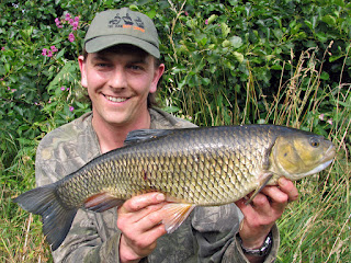 A 4lb 10oz Chub stalked amongst a caster & hemp feeding frenzy on a crystal-clear river Derwent
