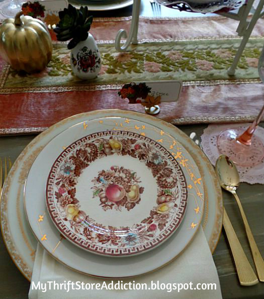 Vintage dishes tablescape