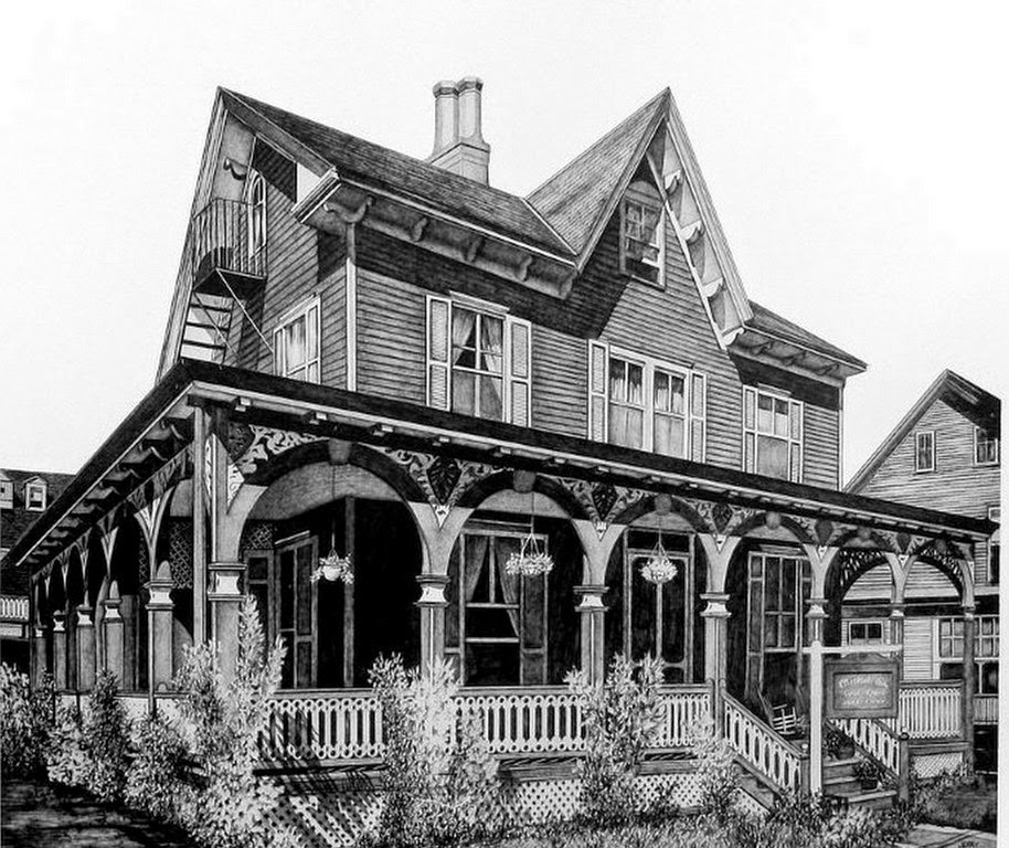 Pintura moderna y fotograf a art stica paisajes americanos a l piz jerry winick - Casas dibujadas a lapiz ...